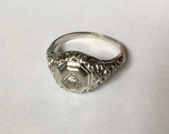 antique ring o romance white gold and diamond ring, size 6.25