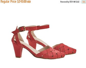 ON SALE Rose, Scarlet red Heeled Sandals, leather sandals
