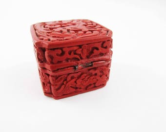 Small, Carved Cinnabar Lacquer Ring Box - Deeply Carved - Multiple Techniques - Collectible - Dragon/Phoenix on Lid - Enameled Blue Interior