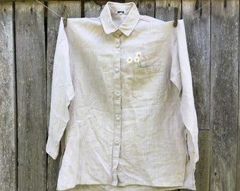 Linen mens shirt Long sleeve pure linen shirt M-size linen shirt 100 % flax shirt Linen mens shirt