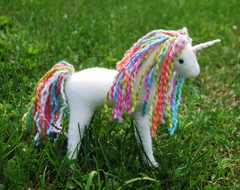 Hand-stitched Felt Stuffed Unicorn Collector Toy