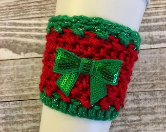 Christmas Bow Cup Cozy, Christmas Coffee Sleeve, Bow, Coffee Cozy, Holiday Cozy
