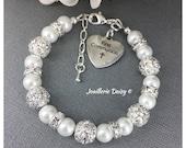First Communion Gift for Goddaughter Charm Bracelet First Communion Jewelry Gift from Godfather Pearl Bracelet