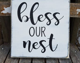 """Bless Our Nest Sign, Rustic Wood Sign, MINI SIGN, Farmhouse Sign, Small Sign, 7.25"""" x 7.25"""""""