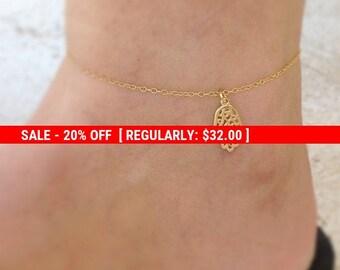 SALE 20% OFF Gold anklet, hamsa anklet, beach anklet, gold ankle bracelet, luck anklet, summer anklet - 10035