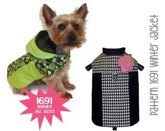 Winter Dog Jacket Pattern 1691 * Bundle All Sizes * Dog Clothes Sewing Pattern * Dog Coat Pattern * Dog Apparel * Designer Dog Clothes