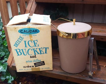 Vintage NOS Cal-Dak Deluxe Ice Bucket with Tongs