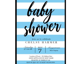 Baby Boy Shower Invitation,Stripes,Modern,Blue,Simple,Custom,Printable Invitation,Download