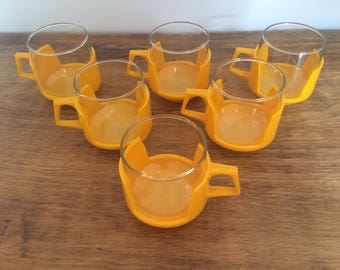 Set of 6 Pyrex and glass orange coffee cups/camping made in England