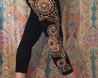 Large Cropped Yoga leggings/ tights/ dance pants hand painted with bleach mehndi/mandala/paisley pattern