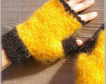 Yellow silk and Mohair mittens