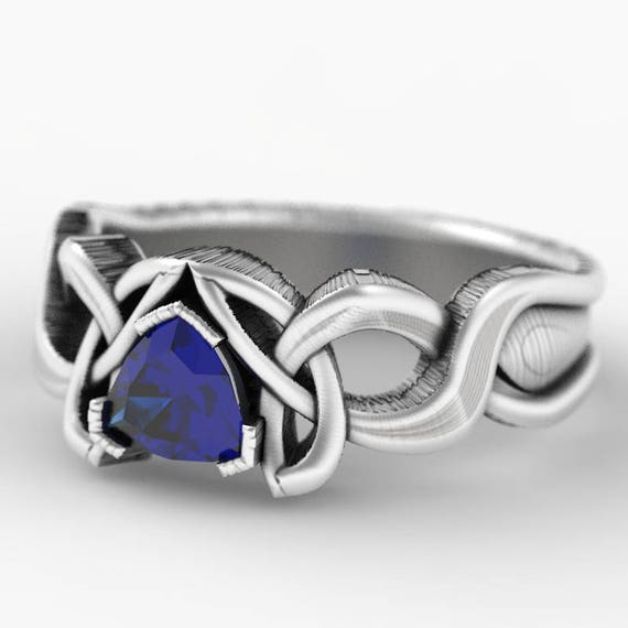 Trillion Sapphire Engagement Ring, Sterling Silver Celtic Knot Ring,  Celtic Eternity Ring, Unique Ring, Handcrafted in Your Size CR-405f