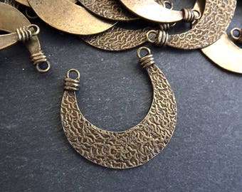 NEW Double Sided Tribal Crescent Pendant Connector Antique Bronze Plated Turkish Jewelry Making Supplies Findings Components - 1PC