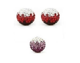 set of 5 10mm Crystal degraded - red disco beads or purple