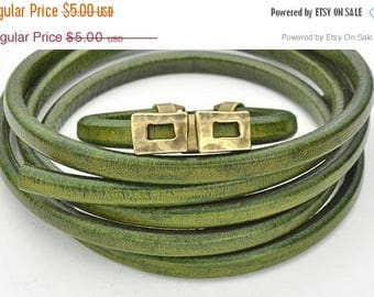 ON SALE Distressed Olive Green Regaliz 10 x 6mm Licorice Leather Cord - 8 inches/20cm (Qty. 1)