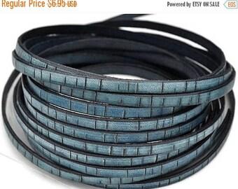 """30% OFF 5MM Flat Leather - Vintage Bark Leather Cord - 1M/39"""" - Vintage Denim"""