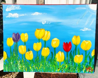 """Acrylic Painting """"Soulmates"""" tulip field painting"""