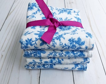 Washcloths for baby girl - set of four washcloths - blue floral washcloths - soft flannel and terry cloth