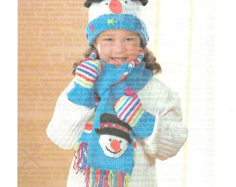 Vintage Knitting Pattern - Mary Maxim Exclusive Pattern - SNOWMAN HAT, SCARF & Mitts - Very Cute Set in Beautiful Colors - Sizes 2 - 6