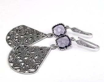 SUMMER SALE Antique Silver Teardop Earrings Rhodium plated Amethyst Glass
