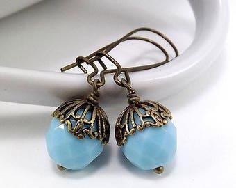 SUMMER SALE Antique Brass Earrings with Czech Firepolish Opaque Light Blue Beads