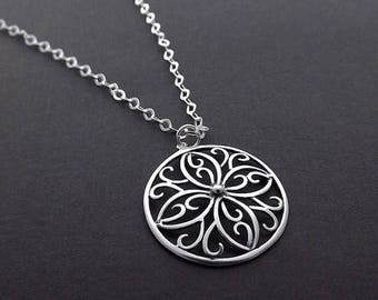 SUMMER SALE Sterling Silver Necklace - Round Flower Filigree Pendant