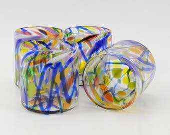Hand Blown Glass Tumblers - Art Glass - Double Old Fashion