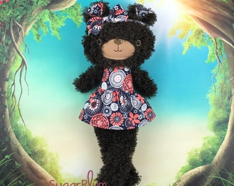 Made To Order Cloth Bear- Fabric Doll - Dress Up Doll - Handmade Doll - Rag Doll - Room Decor - Heirloom Doll