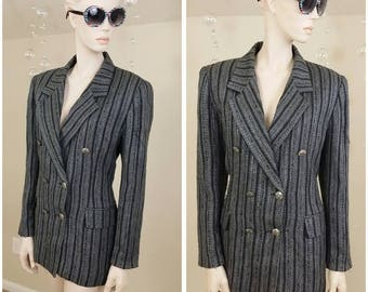 vintage 90s gray and black blazer jacket lined by The Icing size 12