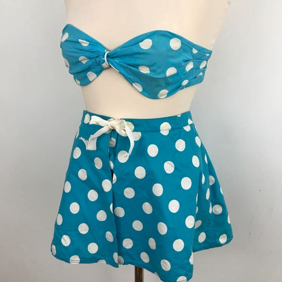 1950s cotton bikini spotty 3 piece beach bandeau mini skirt briefs 1960s vacation wear blue white spotted UK 8 small petite