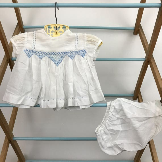 1950s baby outfit white striped cotton shirt knickers traditional outfit 0m to 6m hand smocked baby shower smocking panties Harrods