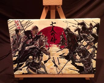 "THE SEVEN SAMURAI  Hand Painted  Akira Kurosawa Acrylic on Stretched Canvas 12"" x 16"""