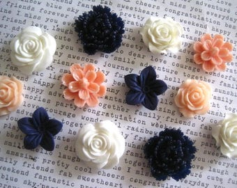 Pretty Magnets, 12 pc Flower Magnets, Navy Blue, White and Peach, Locker Magnets, Housewarming Gifts, Hostess Gifts, Wedding Favors