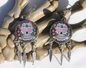 Halloween Day of the Dead Sugar Skull Dangle Drop Earrings Ant. Silver SS3  /1pair