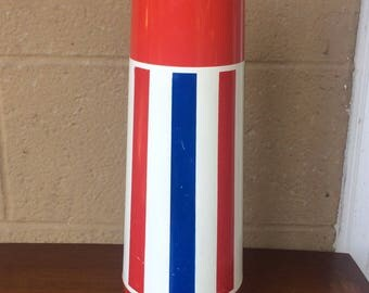 """Retro 70's Thermo Serv Brand Red, White and Blue Plastic Thermos Bottle, 13.5"""""""