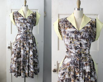 RESERVED // Vintage 1940s Forest Print Dress / 40s Cotton Day Dress / A Forest Dress