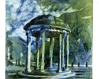 Watercolor painting of well on UNC campus- Chapel Hill, North Carolina (USA).  Original painting. UNC art old well painting university