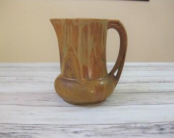 Pottery Pitcher, Denbac French Art Pottery, Arts and Crafts Pitcher Matte Glaze, French