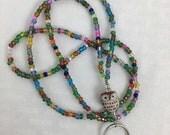 Beaded Lanyard, Beaded Badge Holder, Multi-colored, Brown Owl, Nurse, Teacher, Badge Necklace