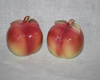 Vintage Peach Shape Salt and Pepper Shakers