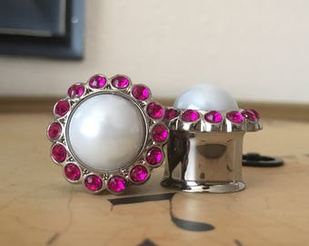 Clearance: Fuchsia and White Pearl Plugs, gauges  5/8, 3/4, 7/8