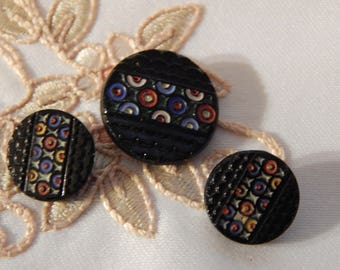 Painted Circles - Molded Black Glass Vintage Buttons 3