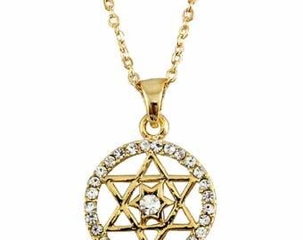 Gold Tone Magen David Clear Crystals Rhodium Pendant & Necklace Judaica Kabbalah