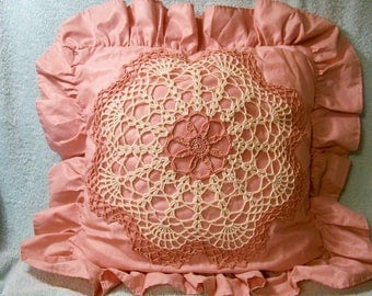 Light Rose Pillow With Attached Doily - Cecelia-Marie - 251