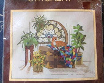 Crewel Needlepoint - Cat Laying on a Trunk Vintage Needlepoint Long Stitch by Sunset 1989