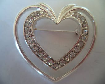Vintage Signed Napier Silvertone/AB Stones Heart within Heart Brooch/Pin   Stunning