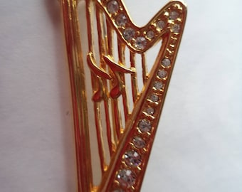 Vintage Unsigned Goldtone/Rhinestone Harp Brooch/Pin
