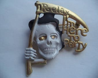 Vintage Signed Danecraft  Goldtone/Black Grimm Reaper Brooch/Pin Relax I'm Here to Party