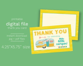 INSTANT DOWNLOAD - Little Camper BabyShowerThank You Card - Printable Double Sided Birthday Party Thank You Cards Custom Thank You Note Card