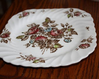 "Johnson Brothers Square Plate in ""Devon Sprays"" Pattern Made in England"